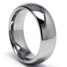 Silver Dome Shiny Tungsten Carbide Wedding Band Gay Ring