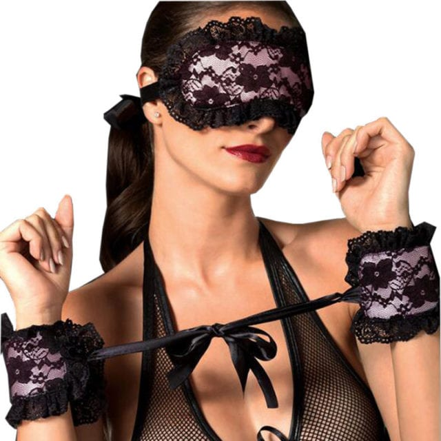 2018 Exotic Apparel Sexy Lingerie Hot Lace Mask Blindfolded Patch + Sex Handcuffs Sex Toys For Couple Erotic Lingerie For Women