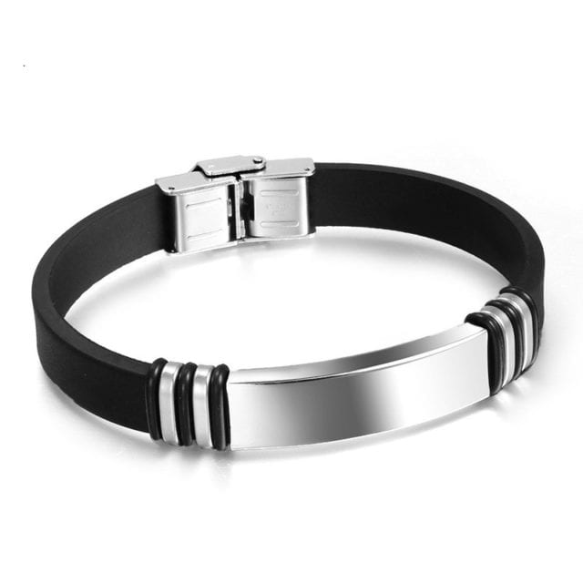 High Quality LGBT Silicone Bangle Stainless Steel Bracelet Black Gun Plated