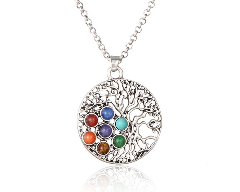 Chakra Stone Tree of Life Pendant Neckalces Women Men Boho Vintage Gold Silver Chain