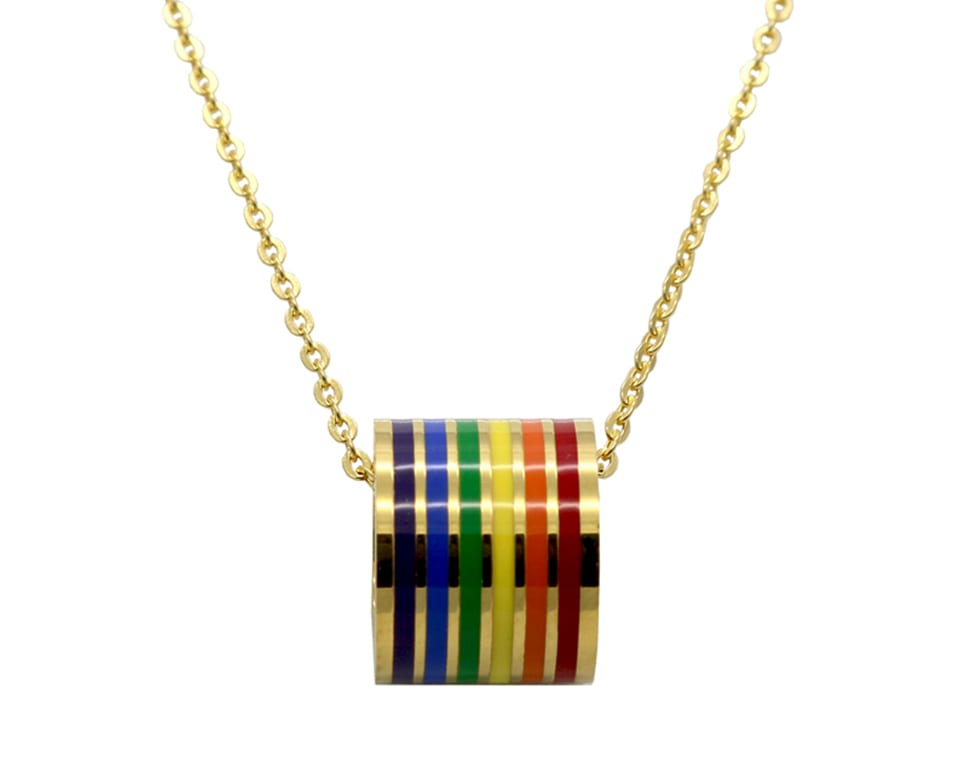Luxury Fashion Jewelry Men Rainbow Pendant Necklace For Woman Stainless Steel Choker Gay and Lesbia