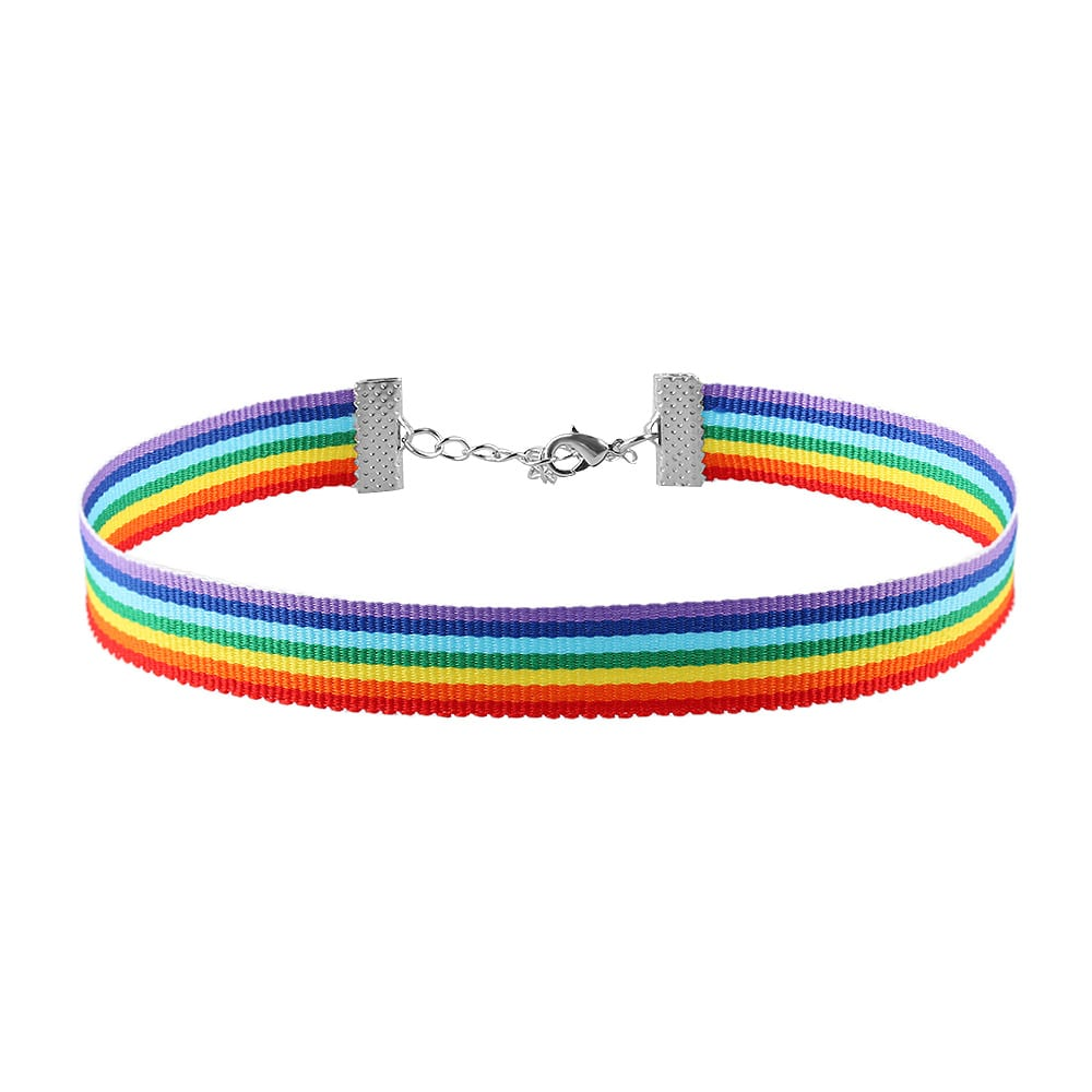 Men Women Gay Pride Rainbow Choker Necklace LGBT Gay and Lesbian Pride Lace Chocker Ribbon Collar with Pendant Jewelry 2C0262