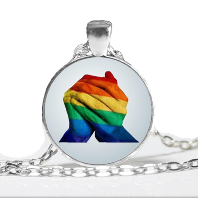 Handmade Gay Pride Rainbow Heart Pendant Necklace Lesbian LGBT Choker Jewelry Photo Glass Cabochon Necklace Wholesale HZ1