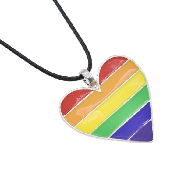 Gay Lychee Alloy Rainbow Heart Rope Multicolor Necklace
