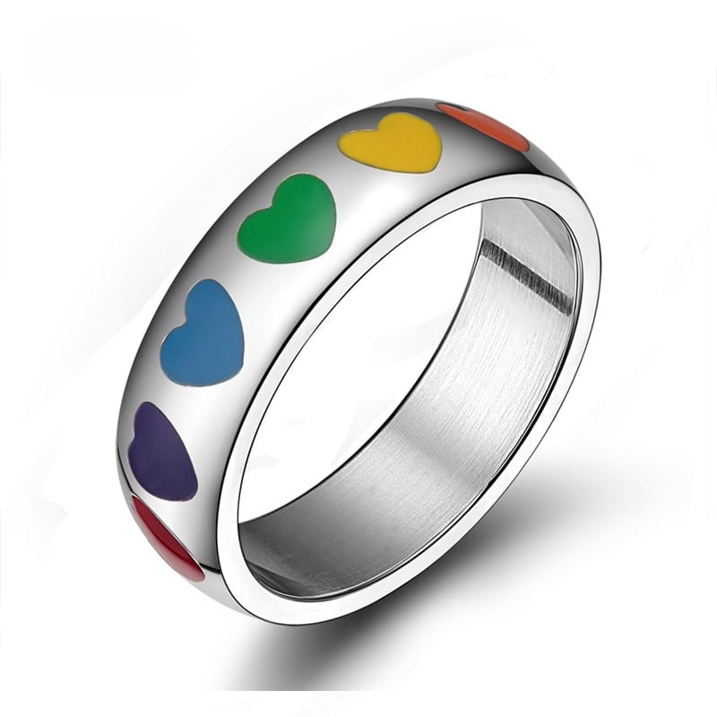 Gay Lesbian Rainbow Smooth Enamel Love Hearts Ring Lesbian Pride Jewelry Band