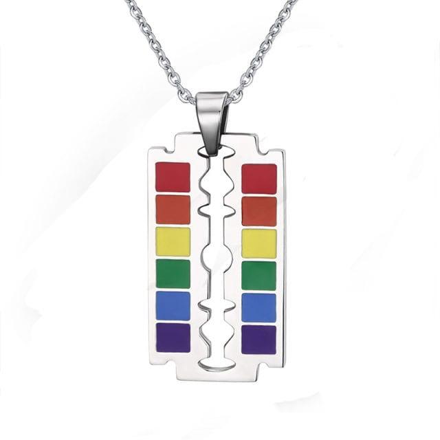 Drop Shipping Gay Flag Rainbow Razor Blade Pendant LGBT Gay and Lesbian Pride Necklace