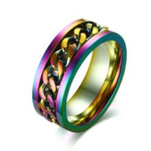 LGBT Pride Rainbow Titanium Steel Chain Rings Love Jewelry