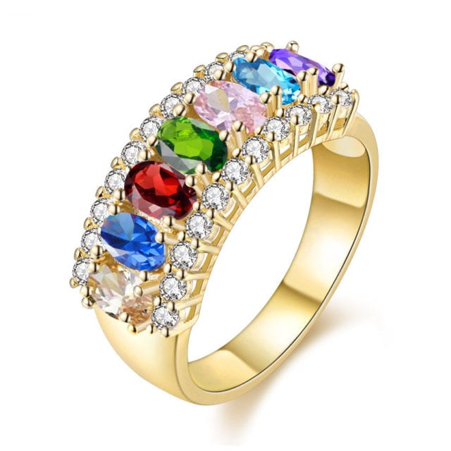 15% OFF Multicolor Gold Color Jewelry Fashion Lesbian Rings for Women Charms Ring Female Rhinestones Wedding Crystal Gifts J501