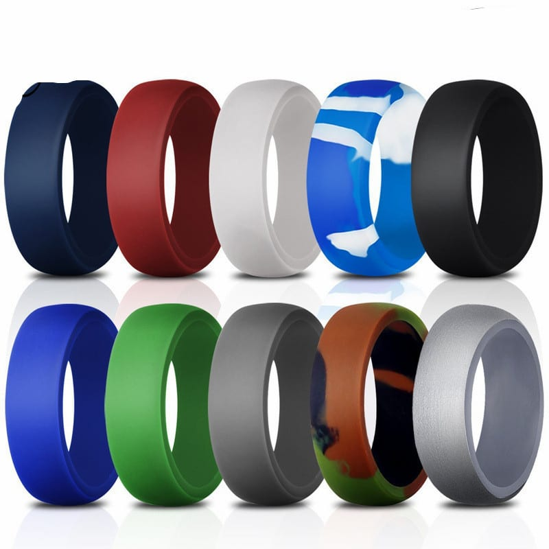 Yesucan 10Pc Multicolor Hypoallergenic Ring Men Sport Rings 8.7mm Flexible Rubber Band Silicone Wedding Gift Gay Lesbian Jewelry