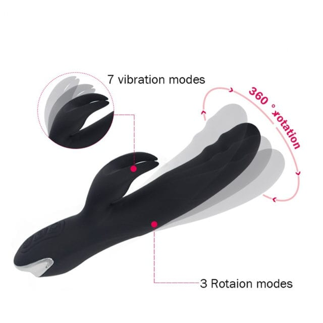 YAFEI 7 speed Silicone Rabbit Vibrator 360 degree rotatable vibrators Rechargeable G spot clitoral stimulator for Women sex toys