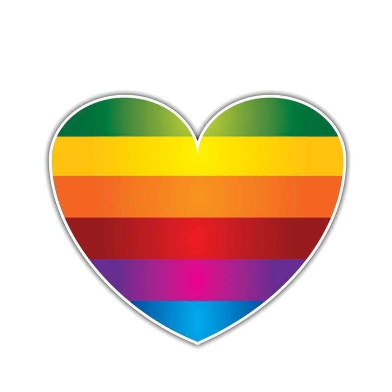Lesbian Pride Colorful Decent Heart Car Sticker