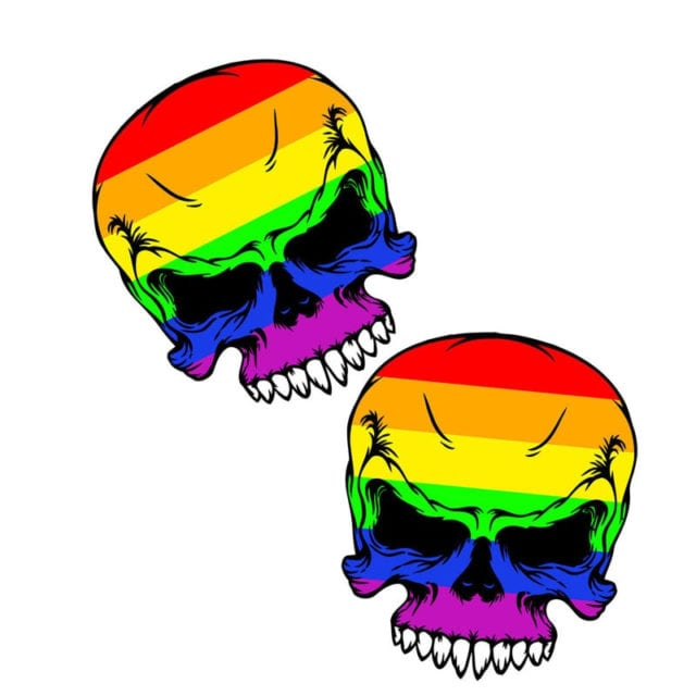 PVC 2X Gay Pride Rainbow Skull Car Stickers