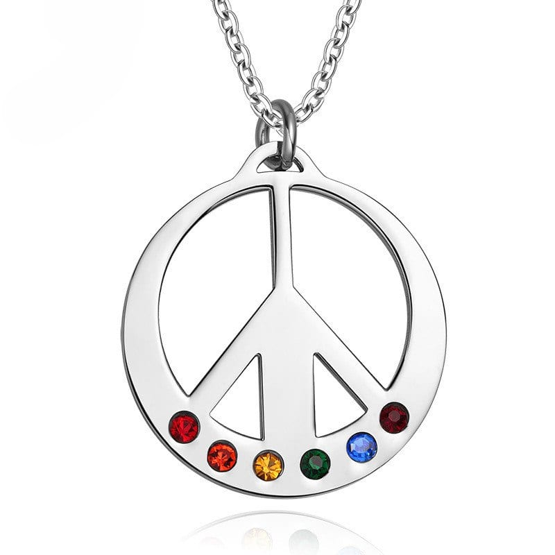 Stainless Steel LGBT Rainbow Aircraft Design Necklace