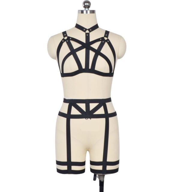 Women's body harness cage bra set, bondage lingerie sexy fashion harnes suit goth fetish Harajuku summer style rave wear Clup