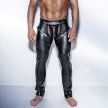 Black Leather Mooning Shorts Male Sexy Fetish Wear