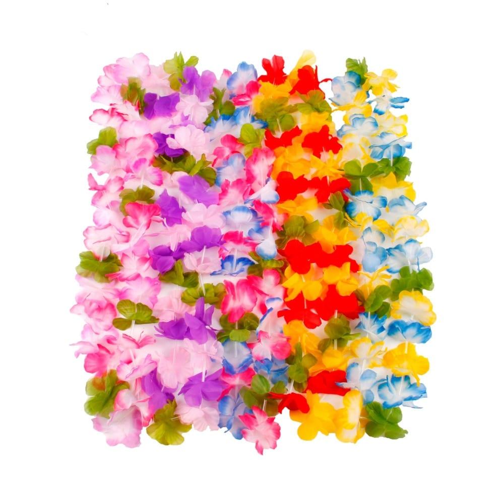 QIFU 10Pcs Hawaiian Artificial Flowers leis Garland Necklace Fancy Dress Party Hawaii Beach Fun Flowers DIY Party Decor