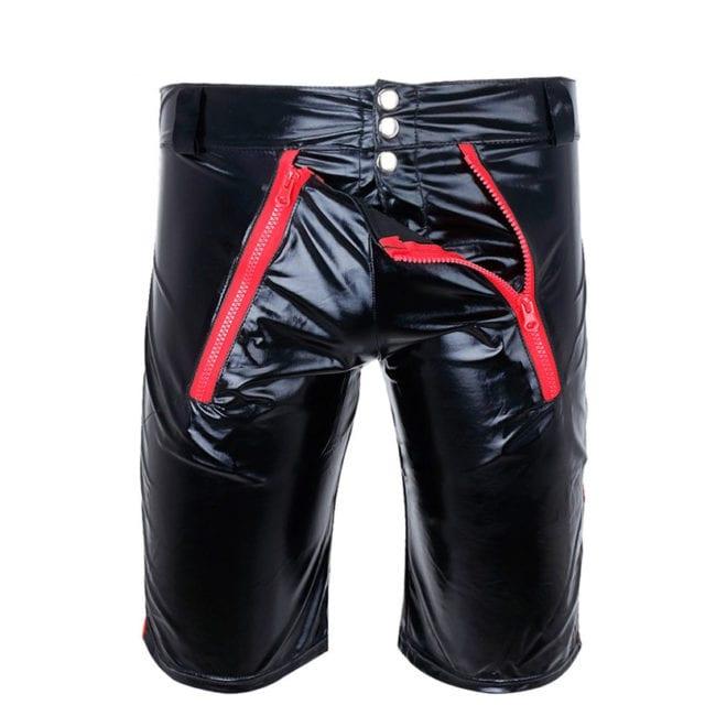 Mens Erotic Zipper Open Short Boxer Wetlook Clubwear