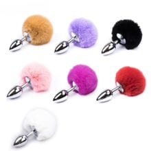 7 Color Small Size Metal Rabbit Tail Anal Plug Stainless Steel Bunny Tail Butt Plug Anal Sex Toys for Women Adult Sex Products