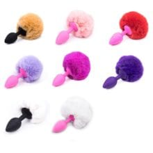 Butt Plug with Crystal Jewelry Smooth Touch Stainless Steel Bunny Tail Anal Plug No Vibration Anal Sex Toys for Woman Men Gay