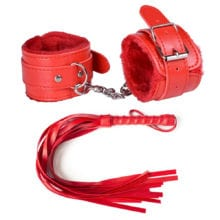 2 PCs PU Leather Handcuff With Whip For Dual Sex
