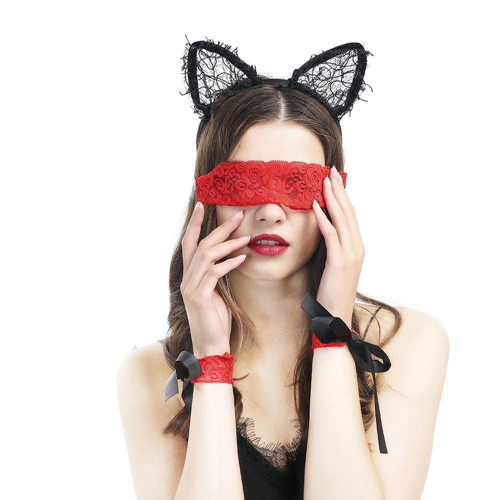 Sex Fetishs Toys Lace Red Blindfold Sexy Eye Mask/Handcuffs A Set For Party Role-playing Of Bondage Sex Toys For Couples