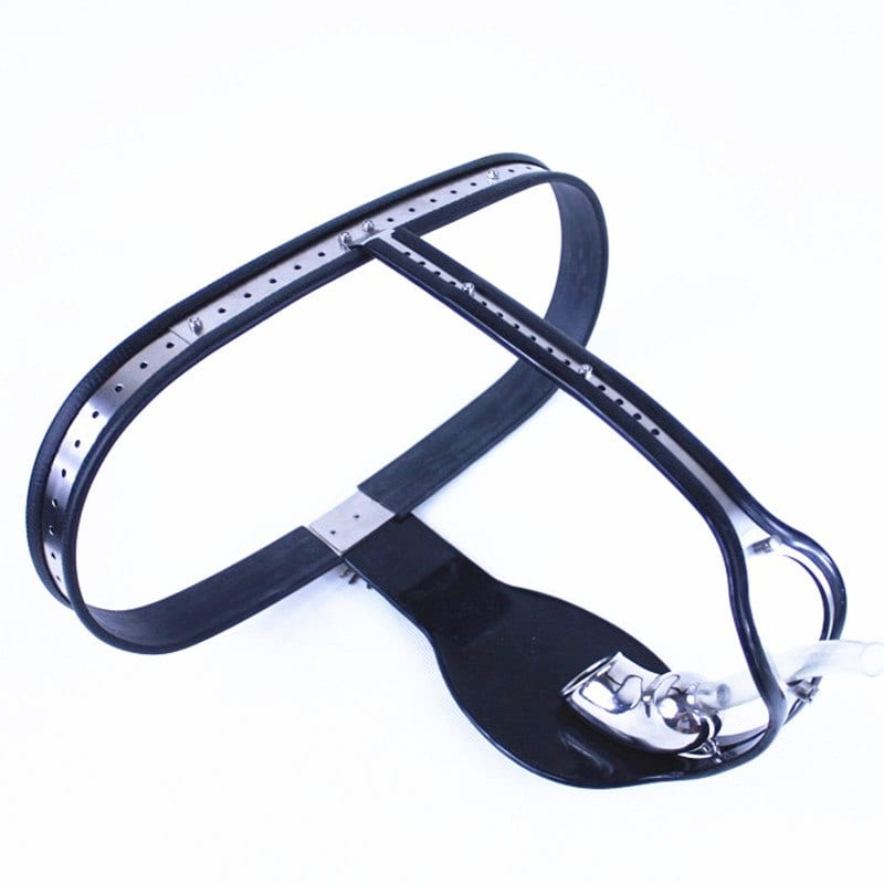 Male Stainless Steel Chastity Belt T-type Chastity Pants Waist Adjustable,Penis Bondage Chastity Cage with Anal Plug Toys G7-57