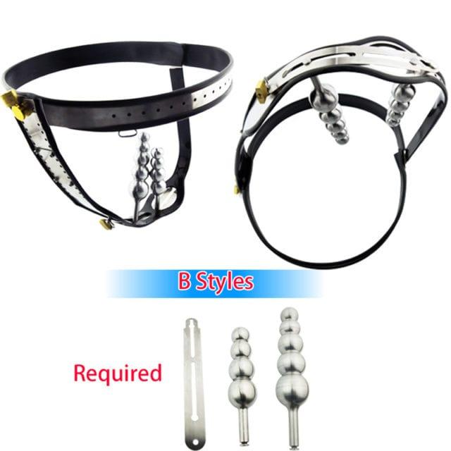 Female Chastity Belt,Stainless Steel Chain Chastity Device Beads Vagina Anal Plug Masturbation Fetish Bdsm Sex Toys For Women