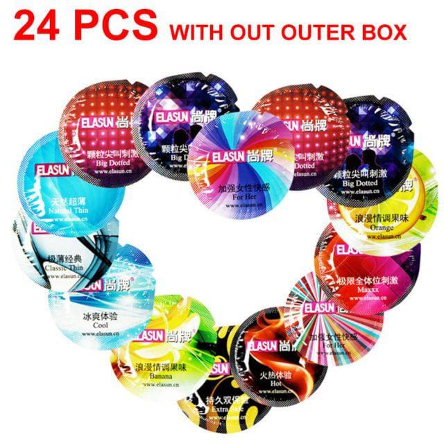 ELASUN 24pcs/Lot natural latex Condoms 8 style thread praticles G spot Ultra thin condoms for men sex toys penis sleeve  adult