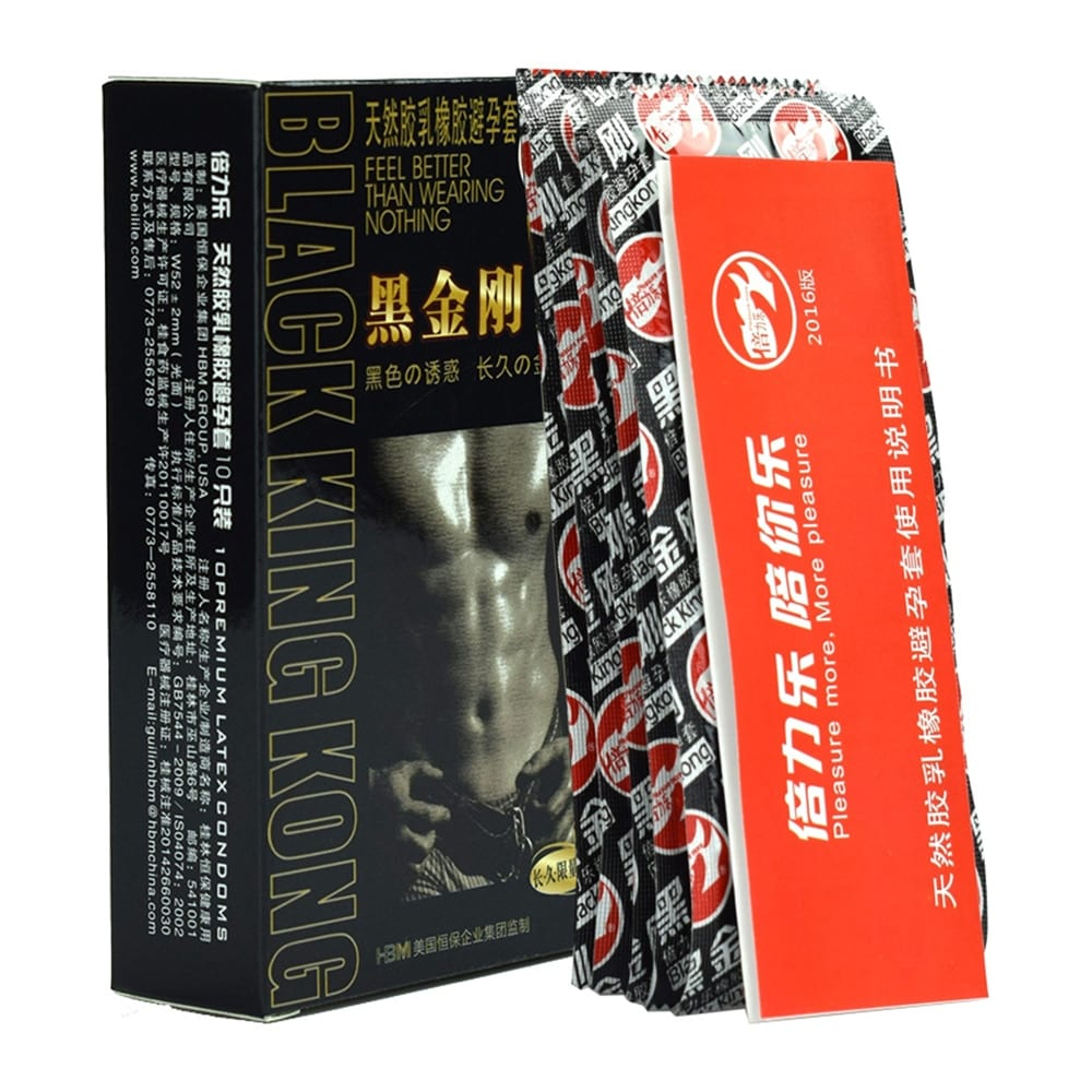 10pcs Black Durable Condoms Ultra Thin Penis Sleeve Long lasting Natural Latex Lubricated Condoms Men Contraception Sex Products