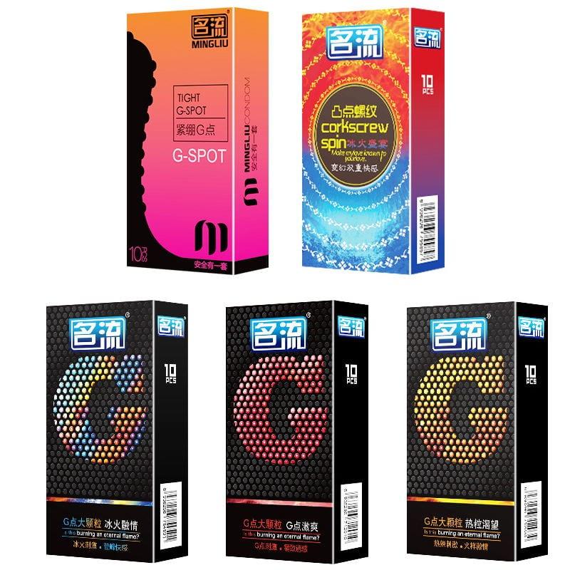PERSONAGE 10Pcs 5 Types G spot  Delay Ejaculation Big Particle Ultra Thin Condoms For Men