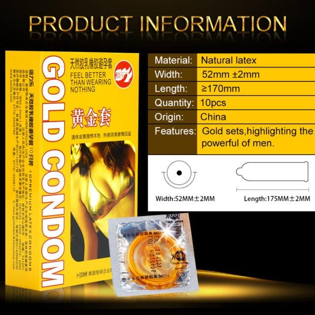 Special Condoms For men 10pcs Gold Lasting Long Delay Gay Condom Penis Sleeve Condones Latex Big Seminal Vesicle Adult Supplies