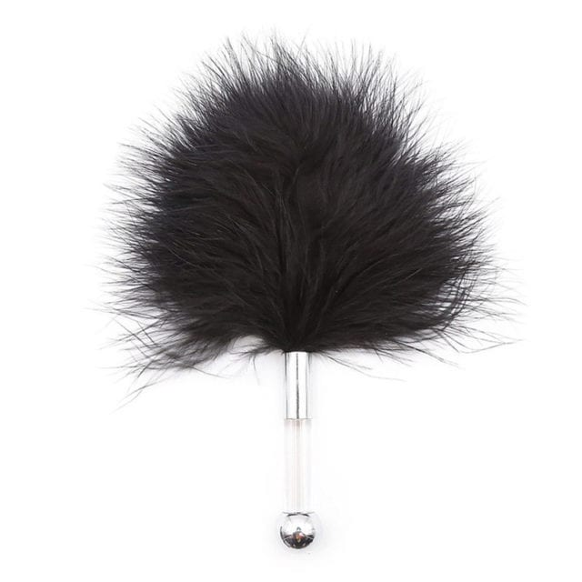 DAVYDAISY Sex Faux Feather Stick Metal Handle Black Flirt Tickle for Women Adult Erotic Sex Accessories for Couples AC151