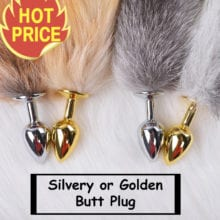 DAVYDAISY Silvery Golden Metal Anal Plug Faux Dog Tail Butt Plug Stainless Steel Women Adult Sex Accessories for Couples AC105
