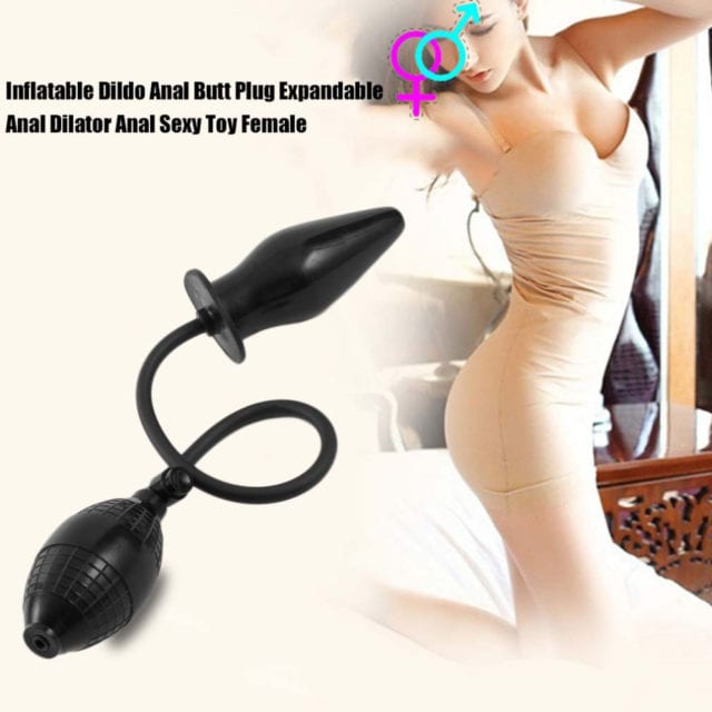 Soft Large Black Pump Up Air-filled Inflatable Anal Plug Dildo Butt Plug Anal Dilator Anus Massager Sex Toys For Men Woman Gay