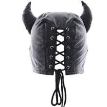 Unisex Leather Padded Hood For Bondage Session