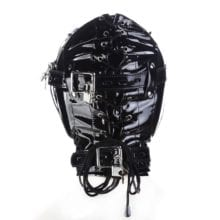 GOTHIC Leather Bondage Blindfold Mask ,Fetish Hood with Mouth Hole  ,Cosplay Halloween Accessories,Adult Sex Toys For Couple