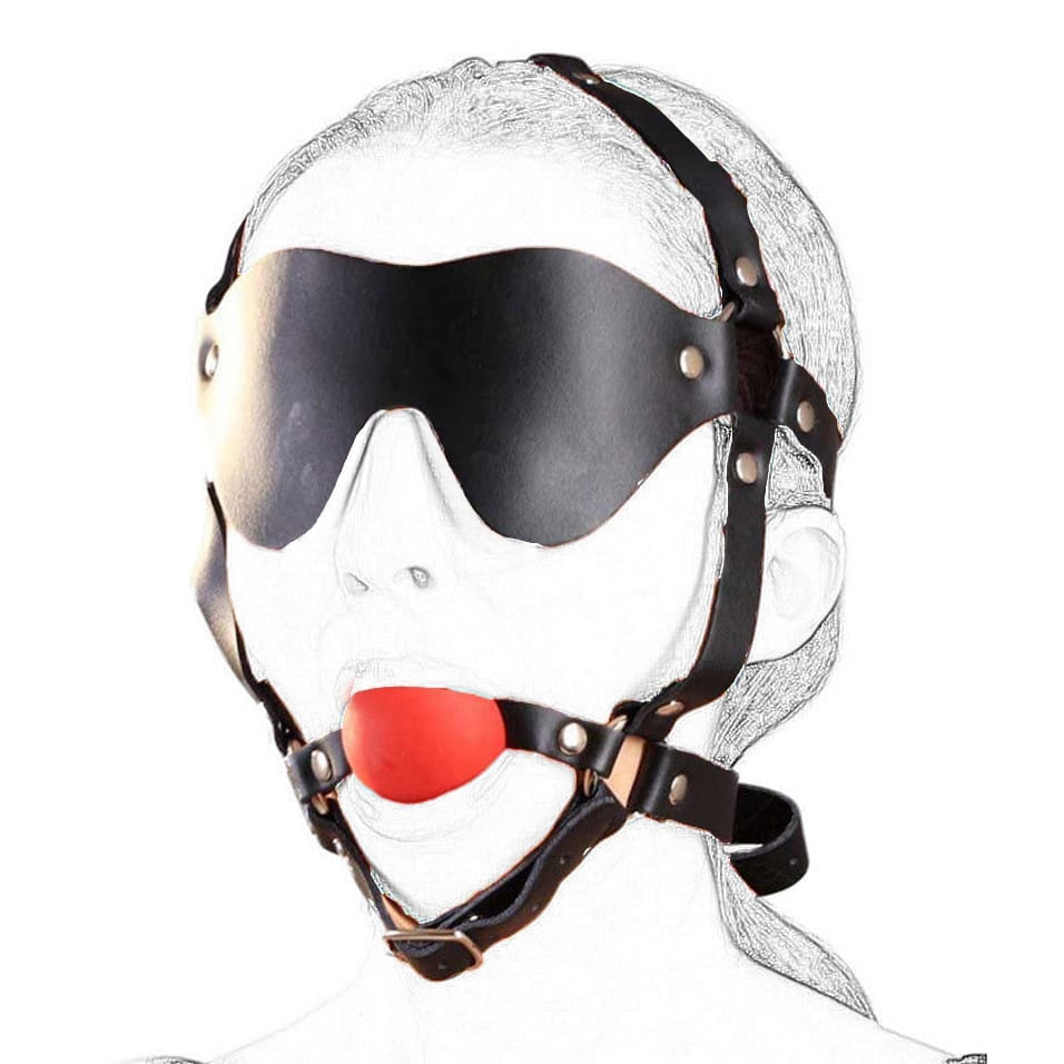 camaTech Leather Head Harness With Blindfold & Solid Silicon Muzzle Ball Gag Straped On Mouth Restraint Bondage Fetish Adult Toy
