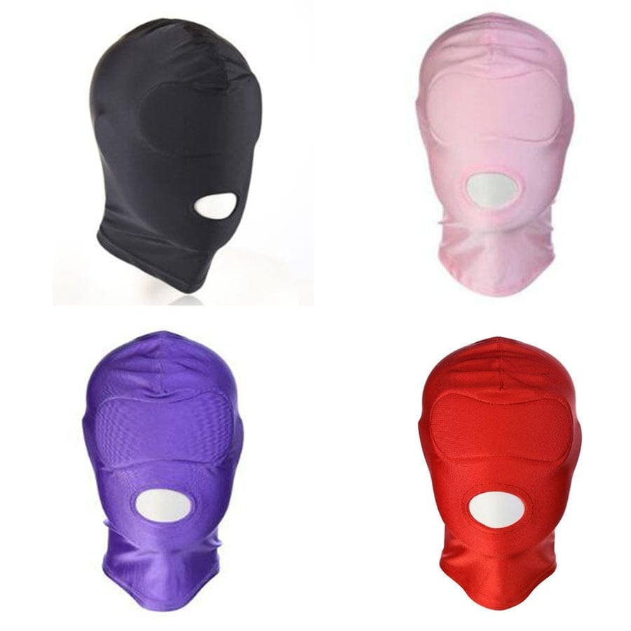 4 Colors Latex Leather Blindfold Eye Face Mask Gimp Open Mouth Hood Head Cover,Adult Sex Toys For Couple