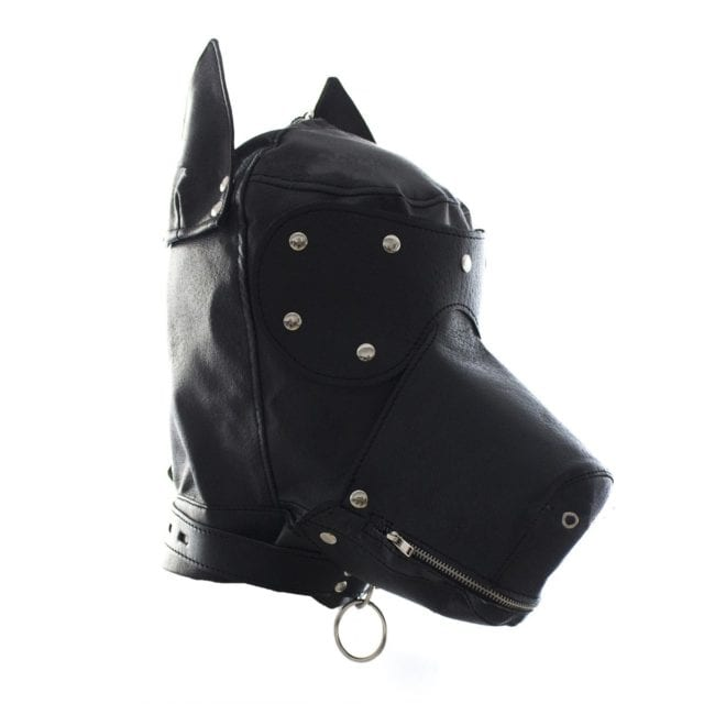 New PU Leather Cosplay Black Dog Hood Head Masks Gimp Blindfold Role Play Headgear Halloween Party Roleplay Costume Prop Mask