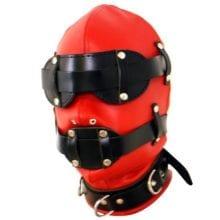 2017 Hot Leather Bondage Dual Color Sensory Deprivation Hood Total Enclosure Head Mask with Snap on Blindfold Fetish Costume