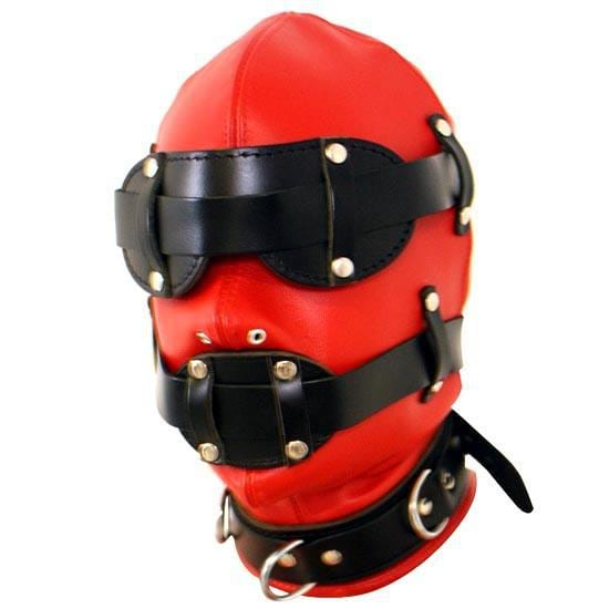 2017 Hot Leather Bondage Dual Color Sensory Deprivation Hood Total Enclosure Head Mask with Snap on Blindfold Fetish Costume