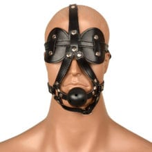New BDSM Bondage Harness Head Mask Blindfold Big Ball Gag Mouth Leather Head Hood Couples Sex product For Slave Game Erotic Toys