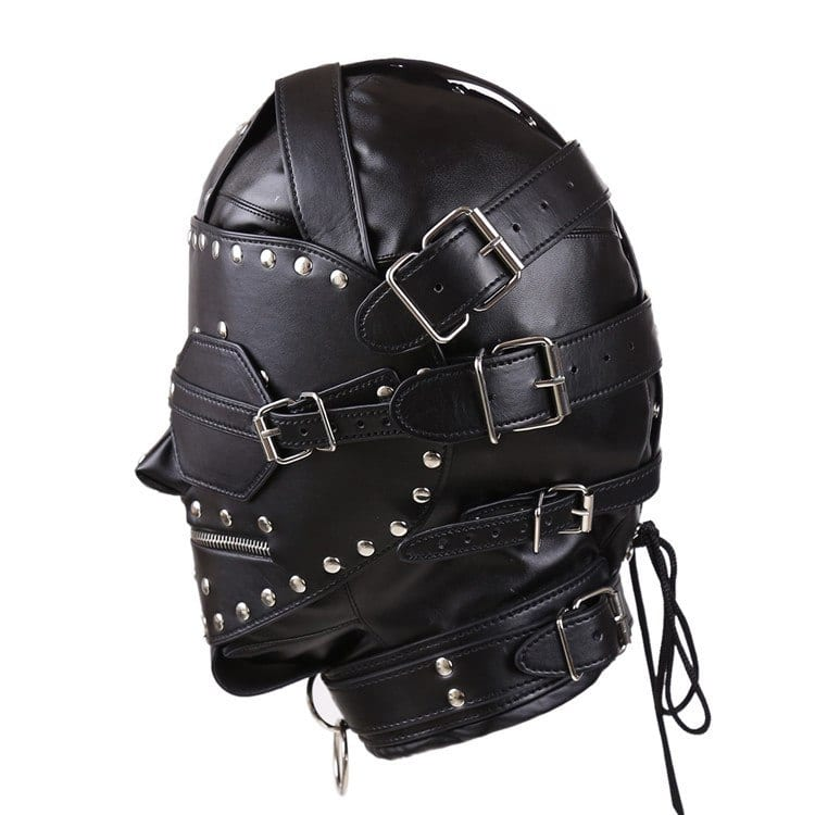 Kinky Metal Stud Finish Fetish Bondage Leather Hoods Head Mask Zipper Full Head Harness with Removable Blindfold Gothic Costume