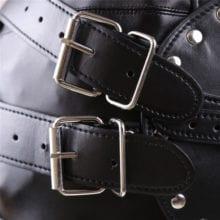 Kinky Metal Stud Finish Fetish Bondage Leather Hoods Head Mask Zipper Full Head Harness with Removable Blindfold Gothic Costume