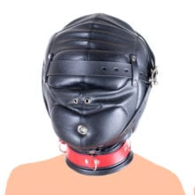 Leather Mask Hood Thick Closed Caps, Soft Padded Hood Mask ,Head Harness Blindfold Bondage Restraint,Adult Sex Toys For Couple