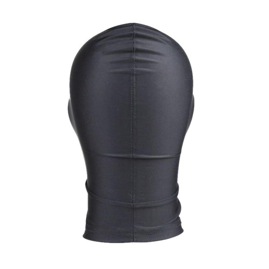 Full Head face Mask Hood Blindfold,Zippered Eyeless Hood ,Latex Harness Zipper Restraint Gimp, Roleplay Halloween Costumes