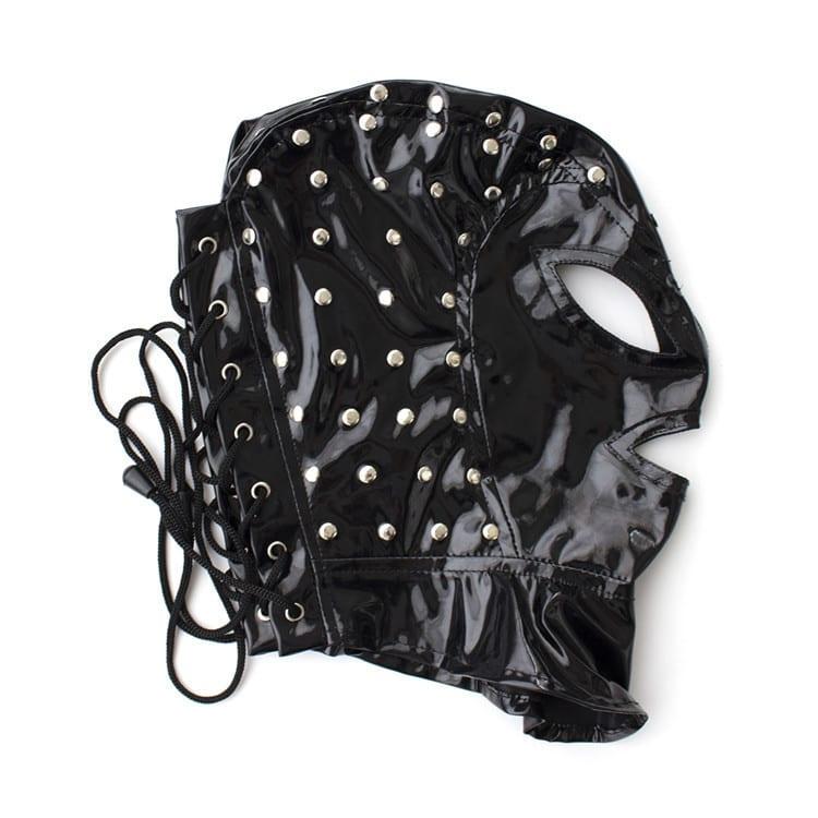 Adult Slave Game Mask Hood Faux Leather Latex Exposed Mouth Eyes Blindfold Fetish bdsm Bondage Lace Masks Sex Toys for Couple