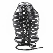 Leather Restraint Soft Hood Hollow Mask