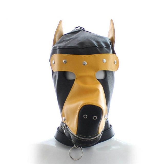 Fashion Fetish BDSM Hood with Full Muzzle Ears Removable Blindfold PU Leather Dog Mask Pup Puppy Play Corset style Collar