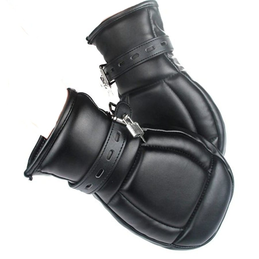 Soft Padded Black PU Leather Bondage Mitts,Puppy Mitts Hand Cuffs,BDSM Bondage Restraints Mitten With Lock Sex Toys For Couple